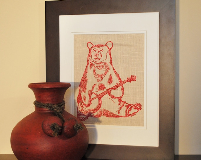 Living Room Wall Art - Bear Art Print - Art for Bathroom - Wall Decor Art - Red Wall Art - Cool Wall Art -Art for the Kitchen -Gifts for Mom