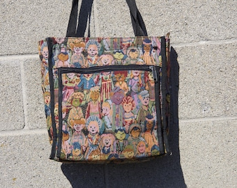 90's COLORFUL PEOPLE woven tapestry purse