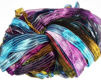 Mountain Gems - Hand Painted Artist Dyed Ribbon Strings - OOAK  - FireandFibers Beads