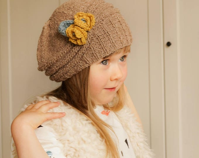 KNITTING PATTERN beanie hat Mila with crochet flowers (toddler/child/adult size)
