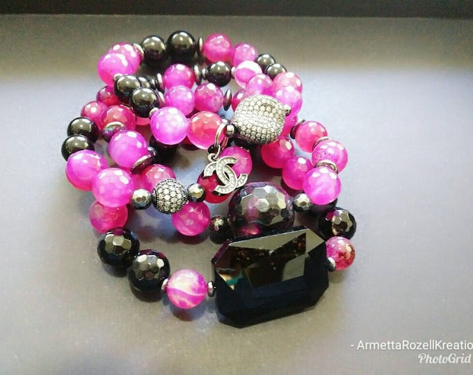 Pink Agate Stone and Black Jade Beaded Stretch Bracelet Stack, Yoga Bracelet's