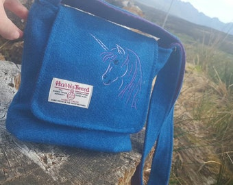 Harris Tweed Shoulder Bag with embroidered Unicorn. Handmade on the beautiful Isle of Skye