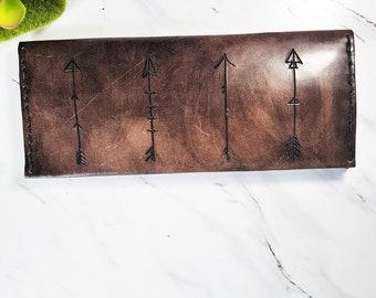 Women's leather wallet / leather Bohemian wallet / Arrow Wallet / gift for her