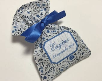 10 sachets favors personalized Liberty Lilian's berries blue
