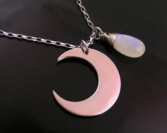 Crescent Moon Necklace with Rainbow Moonstone, Moonstone Necklace, Moon Phase Necklace, Crescent Necklace, Stainless Steel Chain, N1373