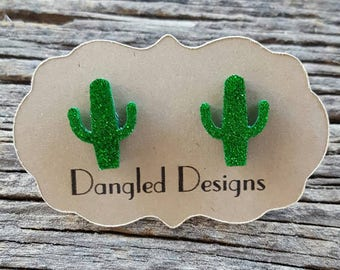 Green Sparkly Cactus Earrings