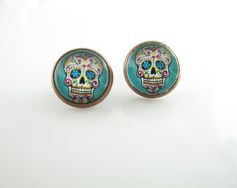 Mexican Skull earrings, Day of the dead earrings, colorful sugar skull earrings, Round studs, Antique Bronze setting, Mint Green, Aqua Blue
