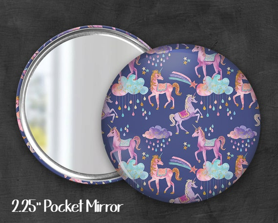 "2.25""  Unicorn Pocket Mirror, Geek Pocket Mirror, Geekery, Mirror Button,  Kawaii Mirror, Pocket Mirror, Kawaii, Fairy Kei, Pastel Goth"