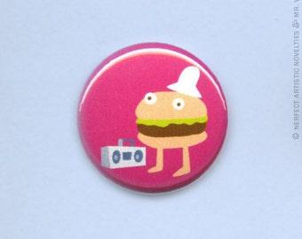 "Hip Hop Hamburger 1"" Pin-Back Button"