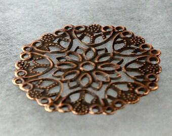 10 pcs of Antiqued Copper filigree drop 35mm
