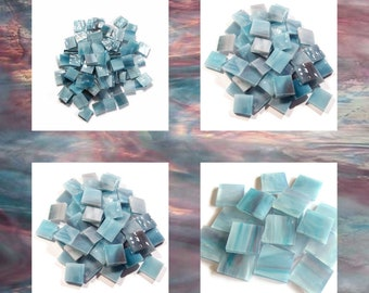 Aqua Rose Squares Pearl Opal Stained Glass Mosaic Tiles Hand Cut Spectrum