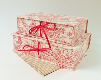Handmade Storage Boxes   Two Red And White Toile And Linen Stacking 6 And 7  Inch