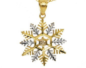 14k Yellow Gold Snowflake Necklace