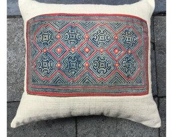 Vintage Handmade Tribal Hmong batik embroidered cotton pillow cover