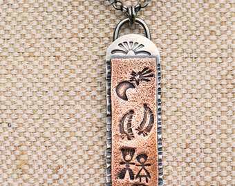Silver Pendant,  Copper Pendant, Pendant Necklace, Copper necklace, Silver necklace, Stamped Copper, Textured Pendant, Stamped Pendant,