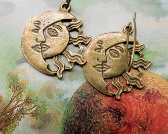 Solar Eclipse Earrings | Eclipse 2017 | Sun and Moon Earrings | Eclipse Jewelry | Celestial Wedding Earrings | Jewelry For Her Under 15
