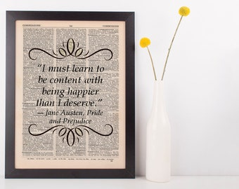I must learn to be content Dictionary Art Print Jane Austen Pride & Prejudice