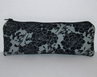 "Padded Pipe Pouch, Black Floral Bag, Glass Pipe Case, Pipe Bag, Flowers Purse, Dark Bag, Girly Pipe Cozy, 420 Bag, Vape Pen Bag - 7.5"" LARGE"
