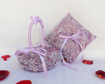 Lilac purple flower girl basket and wedding ring pillow. Embroidered lace wedding set of flower girl basket and ring bearer.
