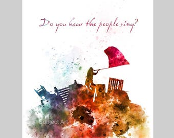 ART PRINT Les Miserables illustration, Barricade Battle Quote, Film, Movie, Wall Art, Home Decor, Gift