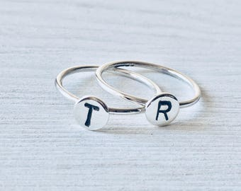Initial Ring 925 Sterling Silver Ring Adoption Jewelry Silver Initial Ring   Silver Stacking Rings   Alphabet Monogram Rings   Sterling