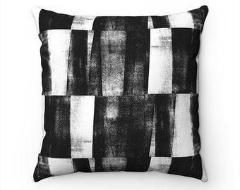 Black & White Geometric Pattern Pillow Cover, Abstract Art Pillow, Cushion Cover, Decorative Throw Pillows, Couch Pillows