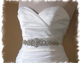 "Crystal Bridal Belt, Rhinestone Wedding Belt, Rhinestone Crystal Bridal Sash, 11"" Wedding Dress Belt, Jeweled Wedding Sash, No. 5060S-11"