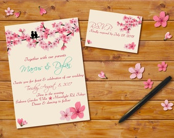 Cherry Blossoms Wedding Invitation, Digital File, Pink Cherry Blossom Theme, Cherry Blossoms Announcement, Cherry Blossoms Invitation