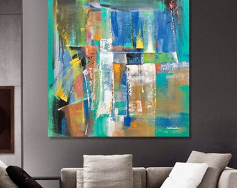Painting Blue Orange White Green Abstract Painting Modern Painting Original Painting