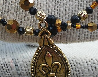 Mardi Gras Necklace, Fleur de lis Necklace, Statement Necklace, Black and Gold Beaded Necklace, Multistrand Necklace, Mother's Day Gift