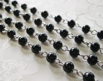 "Black Glass Pearl 6mm Beaded Rosary Chain Silver One Meter 39.5"" 964"
