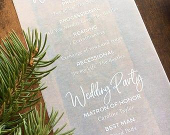 Vellum Wedding Programs, Vellum Programs, Winter Wedding Programs, Translucent Paper Programs, Delicate White ink/Color Programs, set of 24