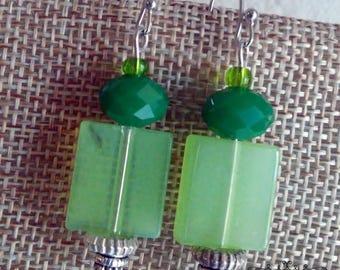 Green Monotone Drop Earrings