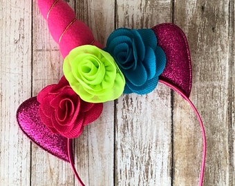 Pink, Green, & Blue Unicorn Headband
