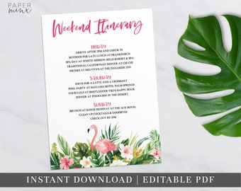 Printable Tropical Weekend Itinerary | Itinerary Template | Editable | Hens Weekend | Hens Party | Bachelorette | Birthday | Tropical Palm
