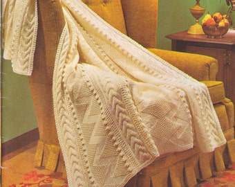 301 PDF Vintage Aran Afghan Knitting Pattern, Fisherman's Knit Design, Download, Beautiful Knit Blanket Pattern, Gift Item, Intricate design
