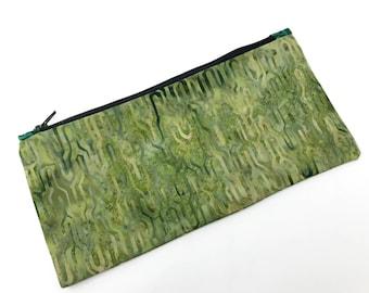 Batik Green and Turquoise Zipper Pouch, Tribal, Pencil Case, Makeup Bag, Cosmetic Case, Travel Bag, Purse Insert, Handmade, Organizer
