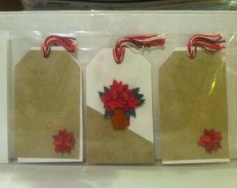 3 Pc. Poinsettia Gift Tags