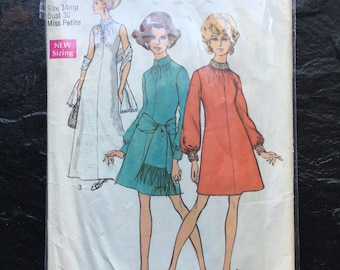 Vintage 1960s Dress in Two Lengths, Sash or Stole Pattern // Simplicity 8540, Size 14 mp, set, wardrobe, petite-able, petite or not