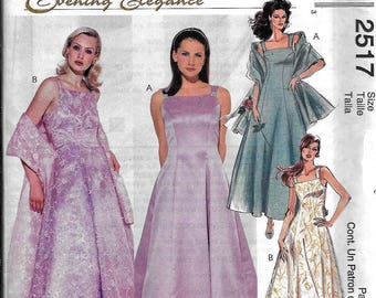 McCall's 2517 Misses' Evening Formal Dress, Petticoat, Stole Sewing Pattern Size 10, 12, 14