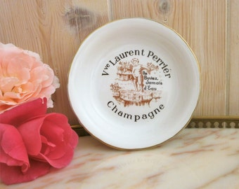 Vintage french Champagne widow Laurent Perrier porcelain dish / / funny ashtray / / tidy / / ashtray/coaster / / Funny / / french china