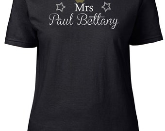Mrs Paul Bettany. Ladies semi-fitted t-shirt.