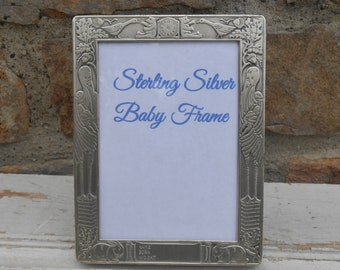 """Sterling Silver Baby Frame Ready to Engrave with Name, Date, Weight Shower Gift Storks, Acorns, Geese, Bunny Rabbits Holds 3 1/2 x 5"""" Photo"""