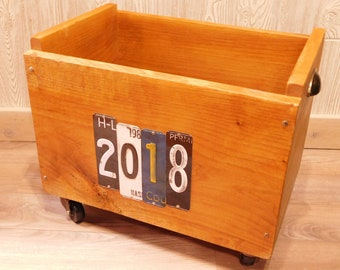 Rustic Alder Rolling Storage Crate with Free Shipping