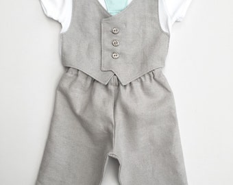Baby boy clothing, newborn boy suit, summer wedding suit for baby, light gray and mint, 1st birthday outfit, uk seller