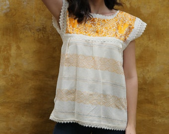 XS to Small Butter Yellow and Beige Two Birds de Paz hand woven and hand embroidered blouse