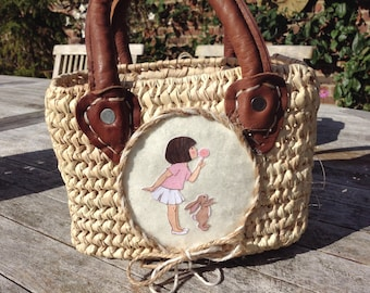Little Girl's Wicker Basket with Leather Handles, Belle and Boo 'Dandelion Clock' Picture