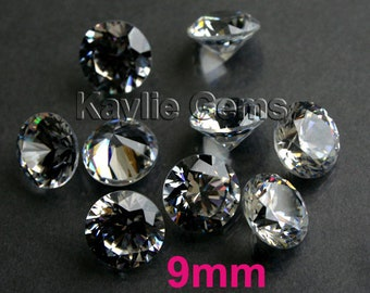 AAAAA 9mm Round Cubic Zirconia CZ Loose Stone Diamond Brilliant Cut - Diamond Clear - 4pcs