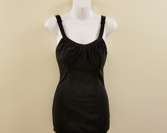 SALE - 60s Vintage Black One Piece Swimsuit- Tons of Stretch - 36-26-32 - Wounded but Wonderful
