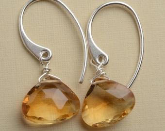 Citrine Earrings, Golden Yellow Gemstone Earrings, Healing Gemstone Jewelry, November Birthstone